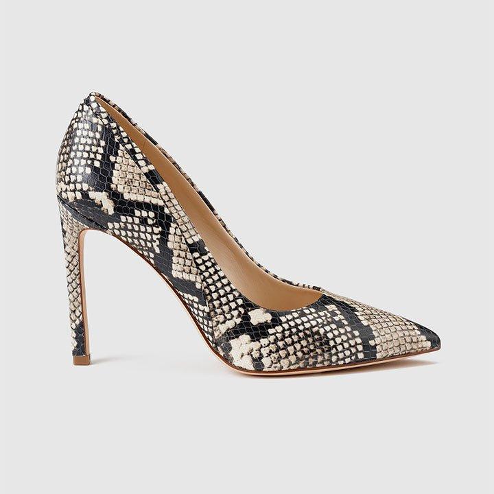 Zapatos de invitada con estampado de serpiente