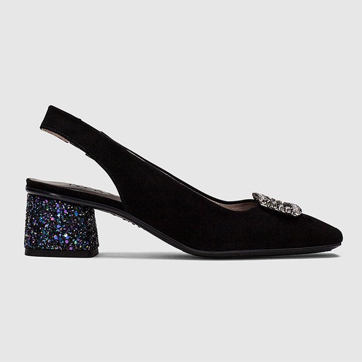 Zapatos de invitada negros con detalle joya