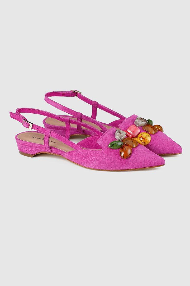 zapatos planos rosa fucsia