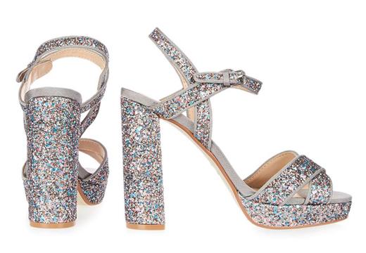 zapatos para Navidad. Sandalias glitter