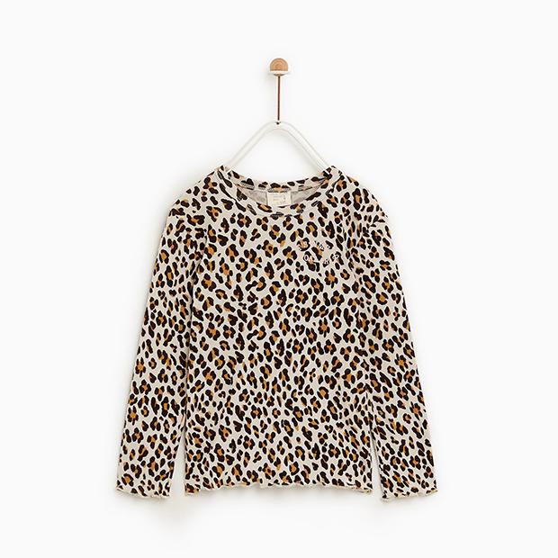 Camiseta de estampado de leopardo de Zara Kids