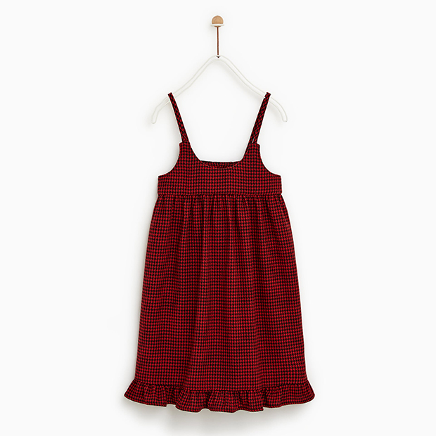 Vestido pata de gallo en color rojo de Zara Kids Niñas