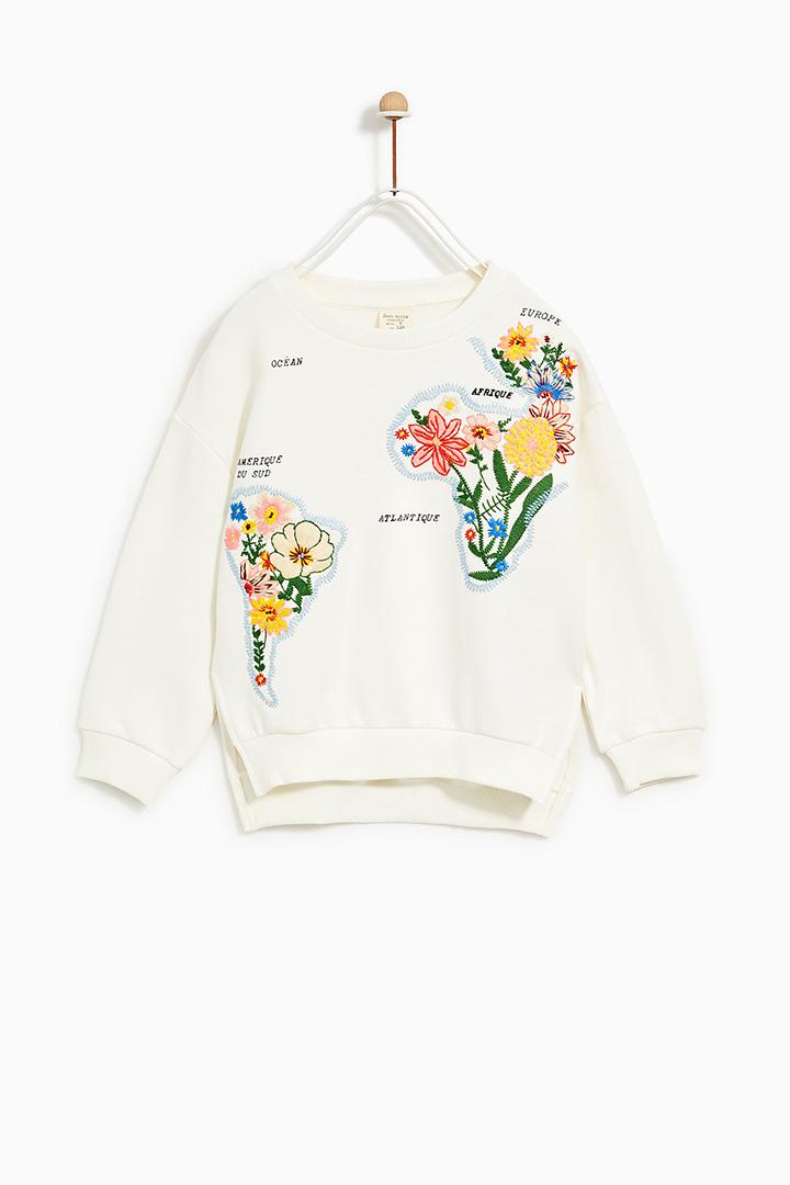 sudadera bordada de Zara Kids Primavera 2018