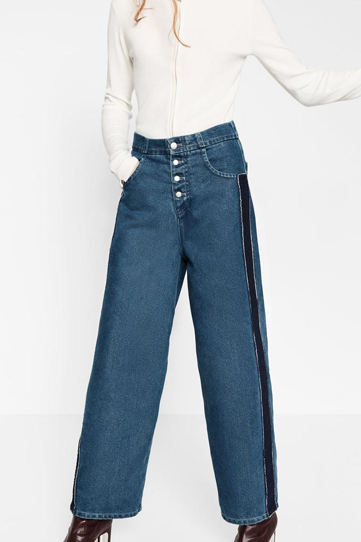 pantalón denim anchos con bandas zara otoño invierno