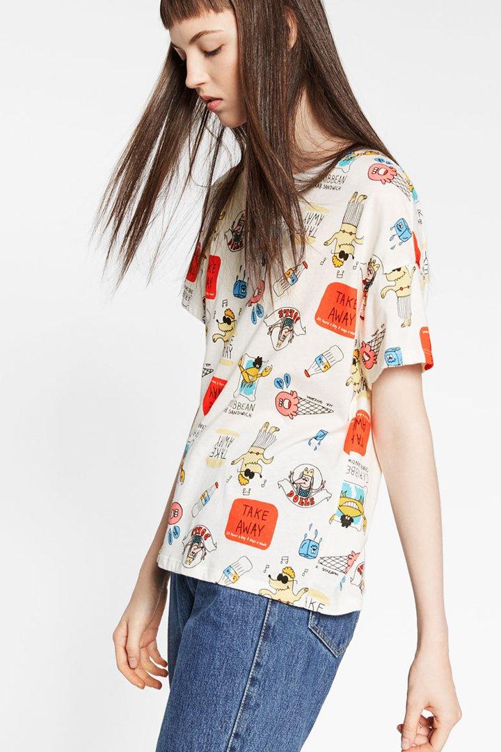 camiseta con dibujos estampados TRF Zara otoño invierno