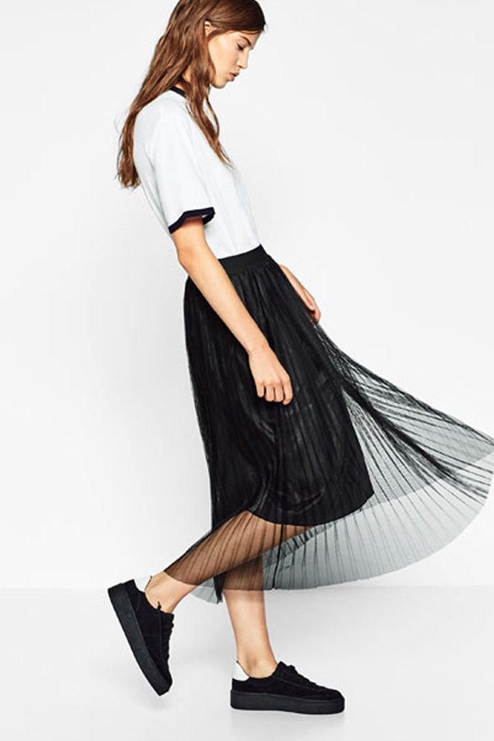 zara otoño invierno trf falda de tul plisada en negro