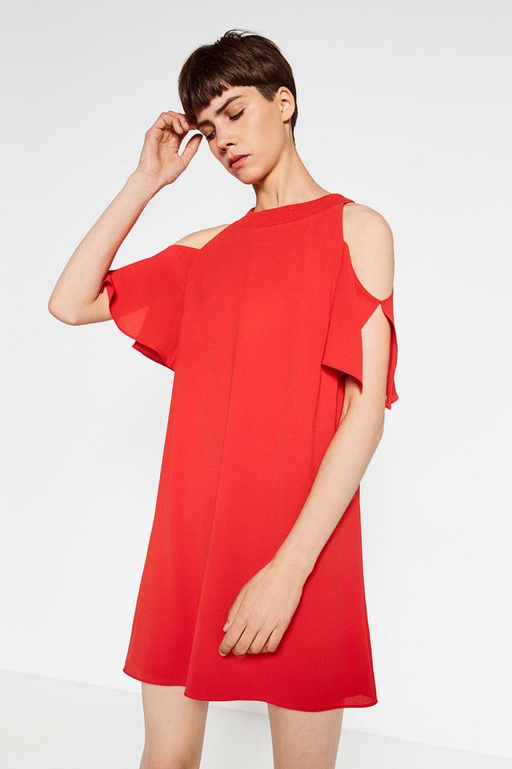 Vestido rojo manga volante zara