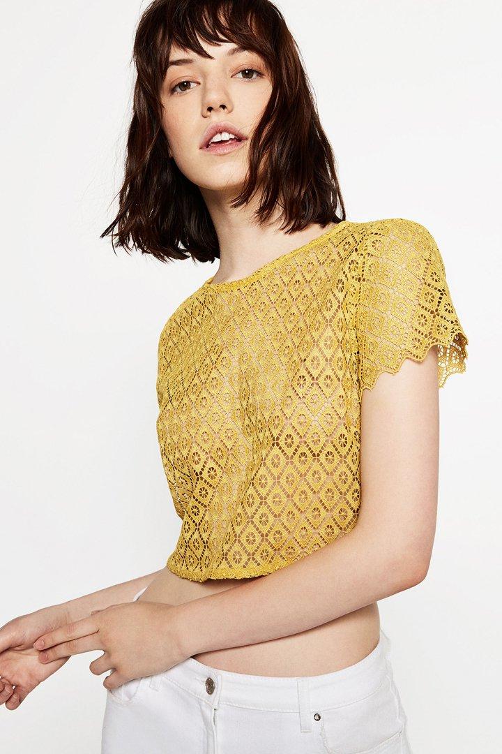 Cuerpo corto manga corta amarillo Zara Online