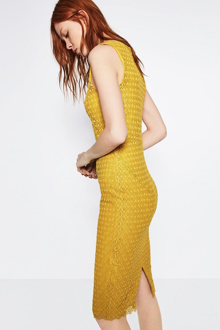 Vestido Amarillo Midi Zara Online