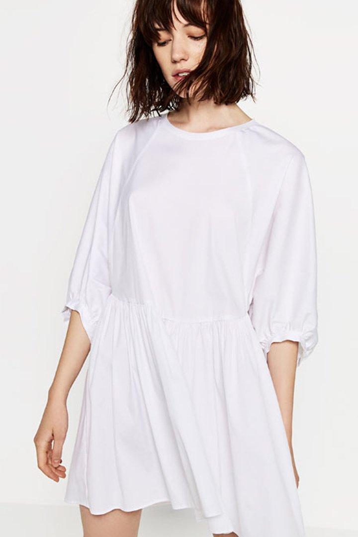 Vestido blanco abullonado Zara Online