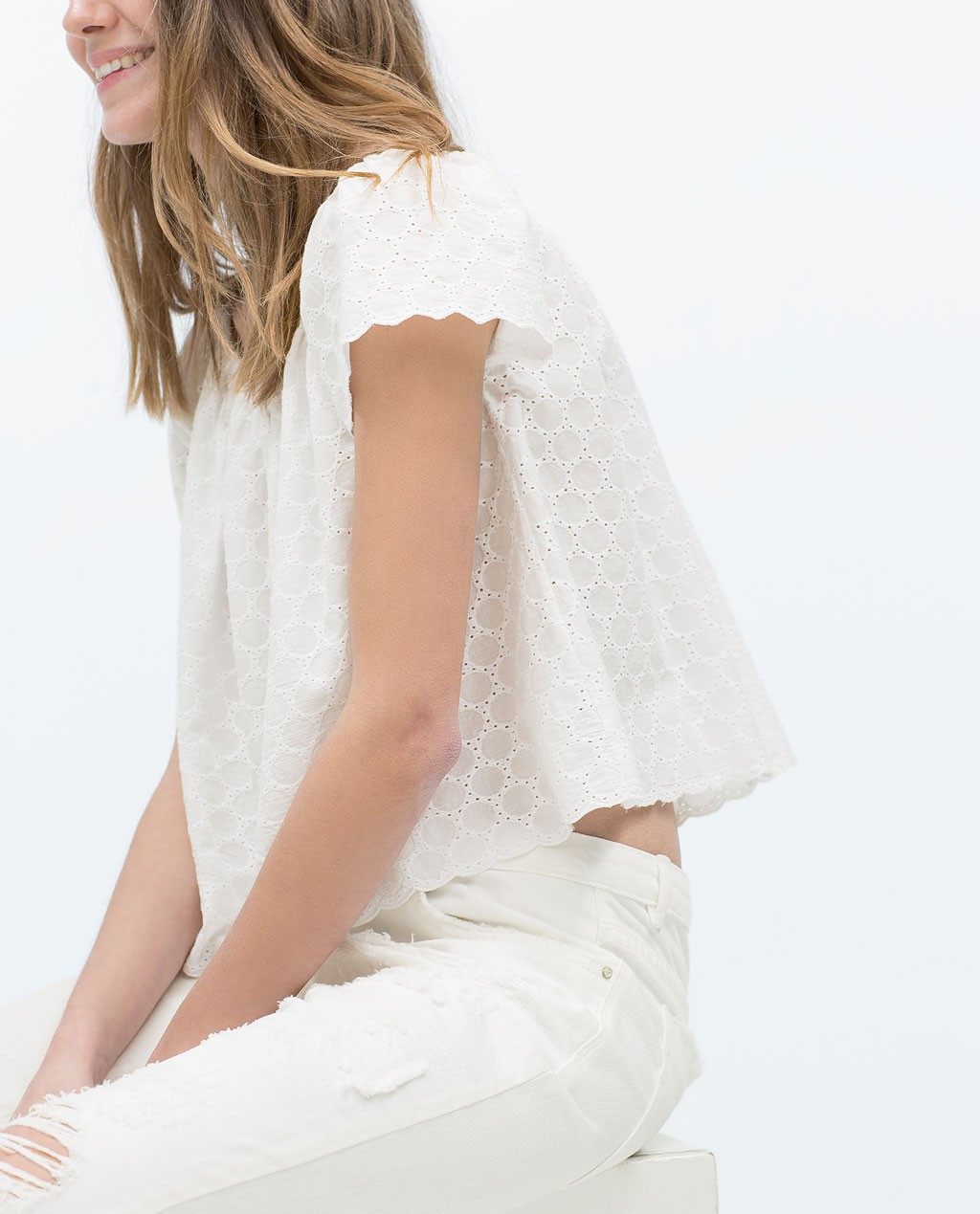 Top Bardot blanco zara