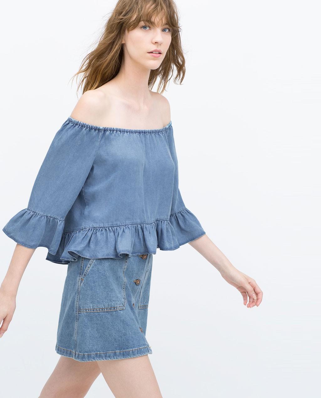 camisa vaquera Bardot