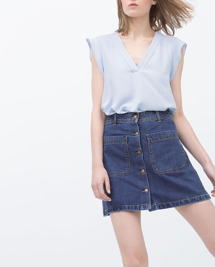 Falda vaquera botones Zara verano 2015