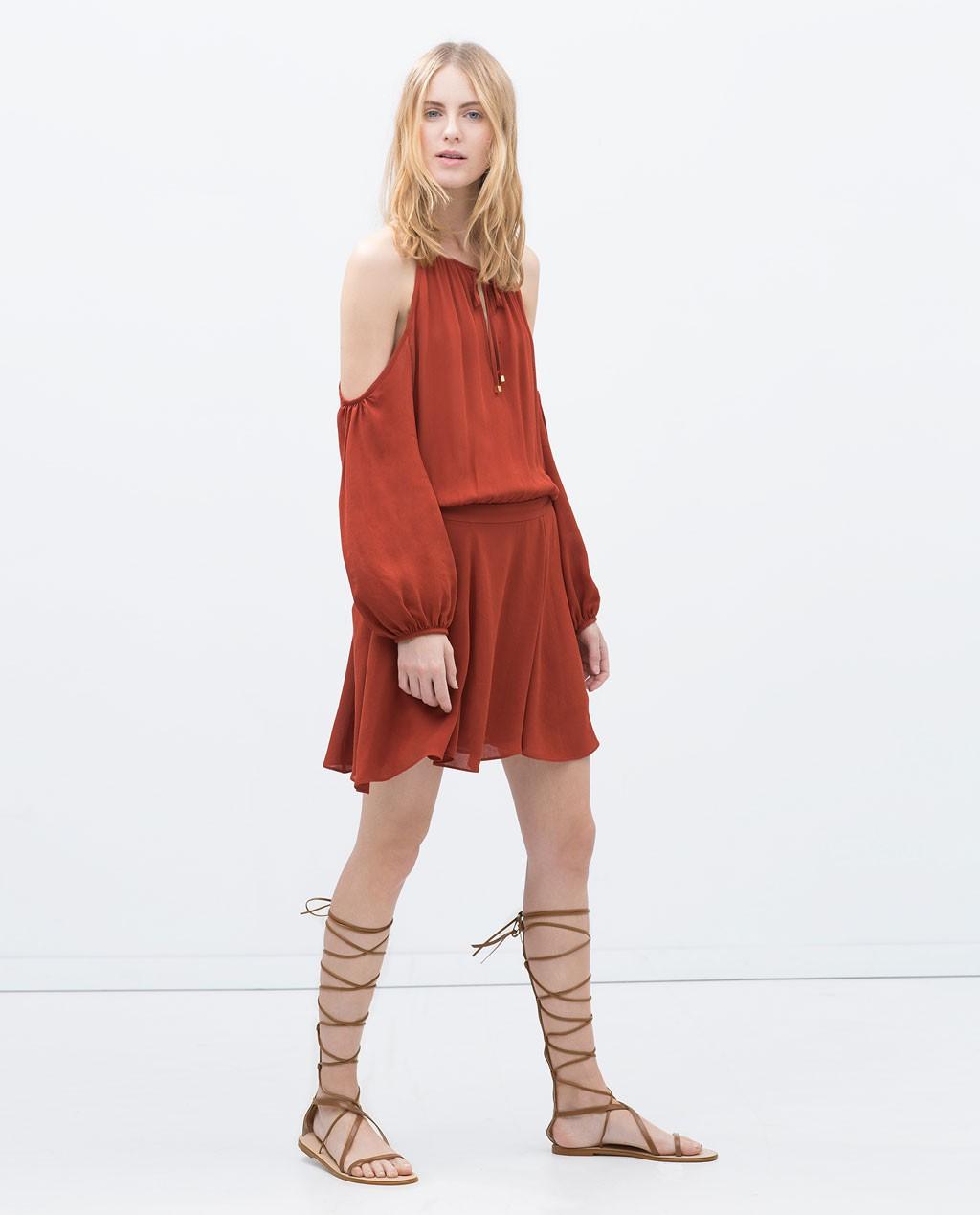 vestido zara color teja