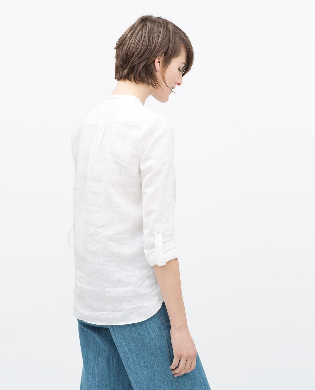 camisa lino manga larga zara