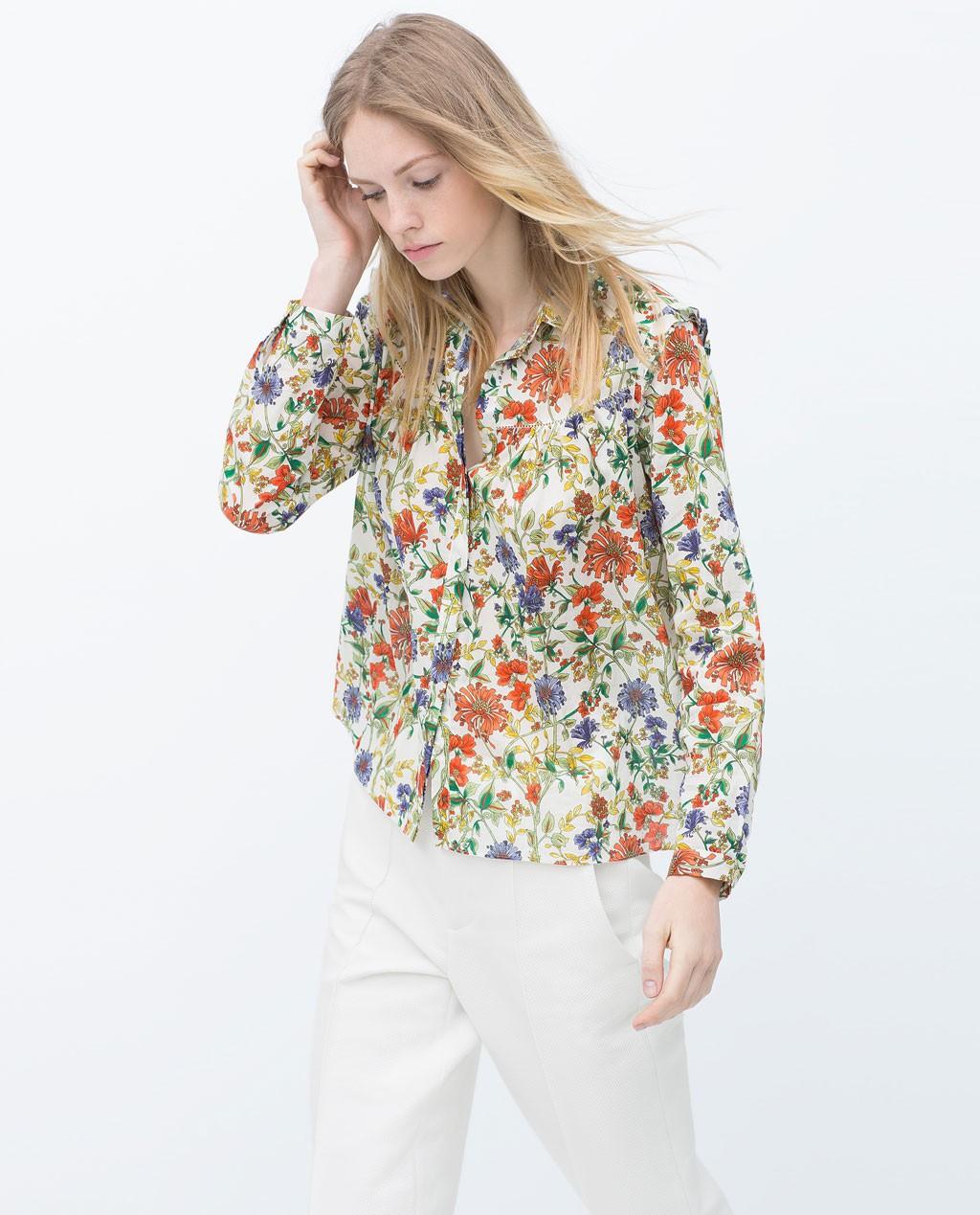 Camisa flores zara