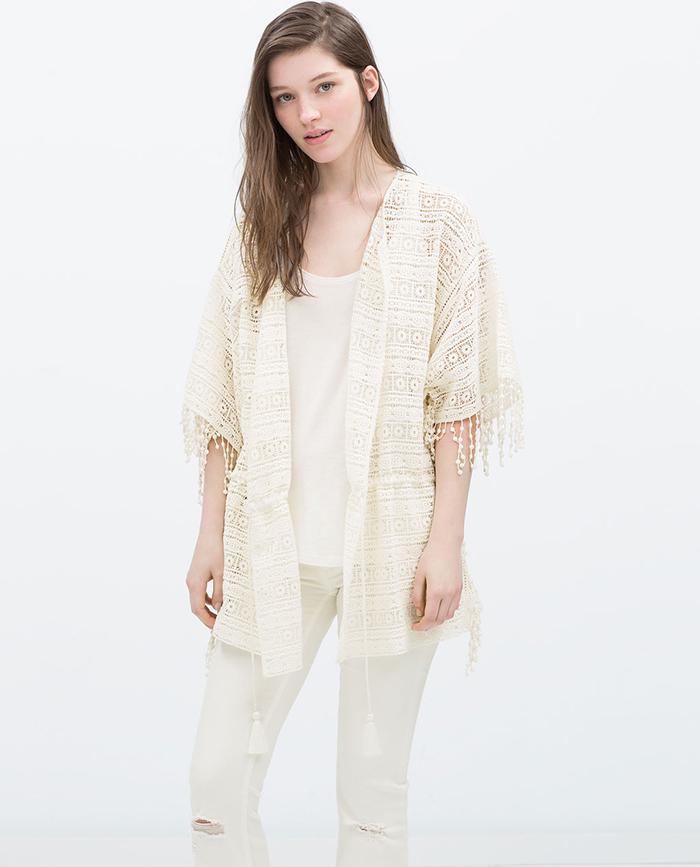 Kimono crochet blanco zara