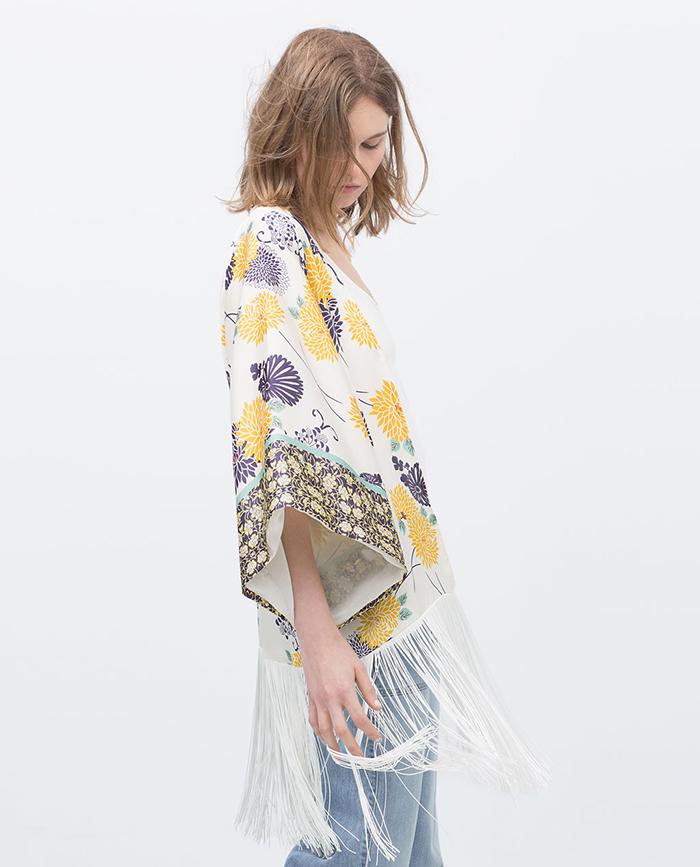 Kimono estampado flores zara