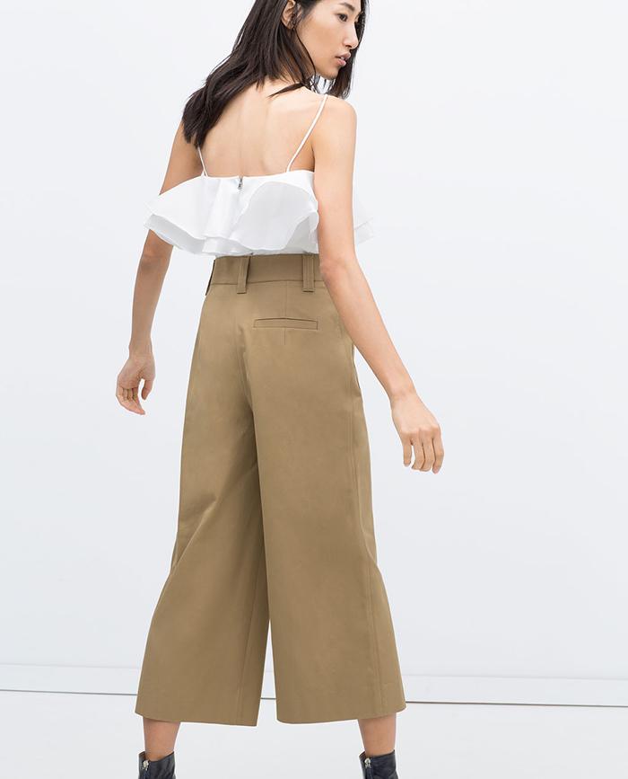 Pantalon cropped beig zara