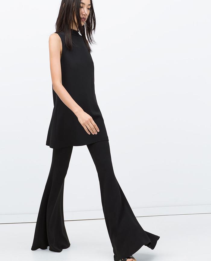 Pantalon de campana negro zara