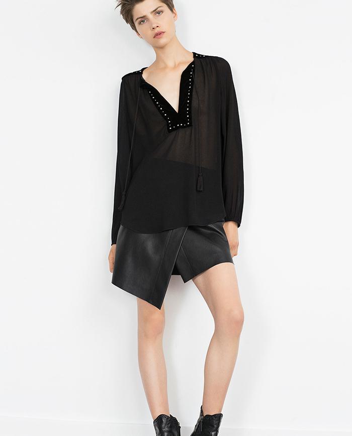 Falda cuero negro zara