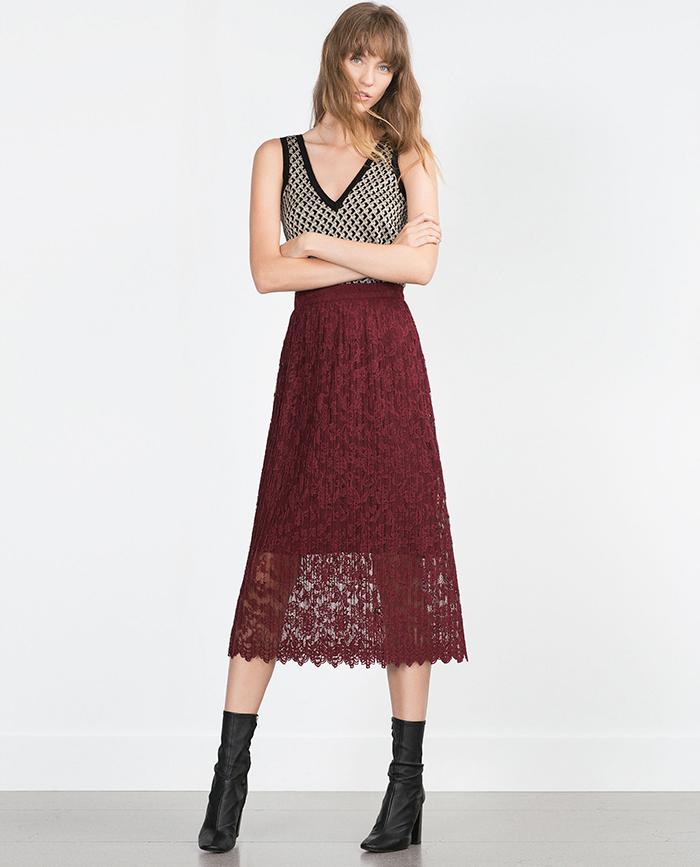 Falda encaje midi zara