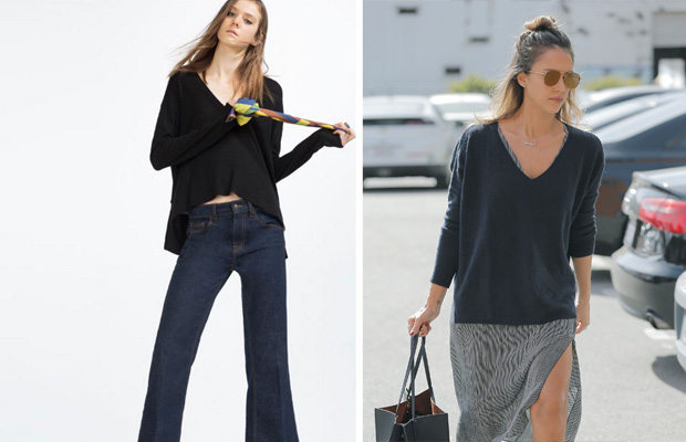 Jersey azul marino de la mid season y Jessica Alba con modelo similar