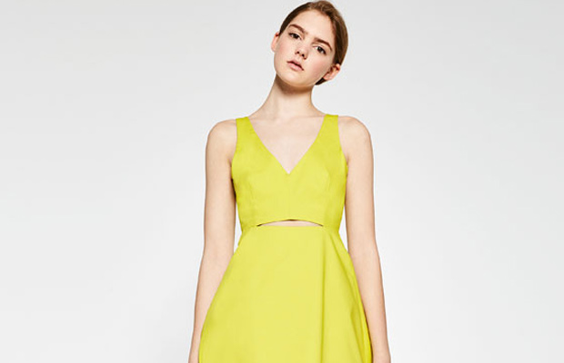 Vestido amarillo lima de ZARA