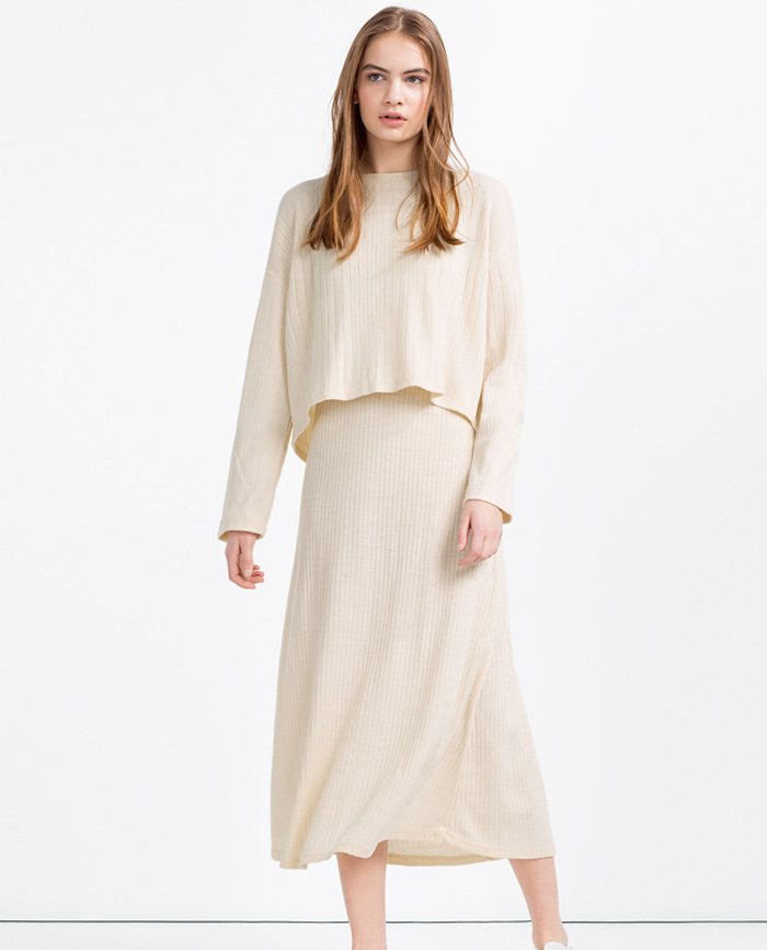 Vestido de canalé blanco de ZARA